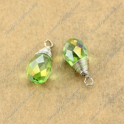 Wire Working Briolette Crystal Beads Pendant, 8x13mm, green AB, 1 pcs