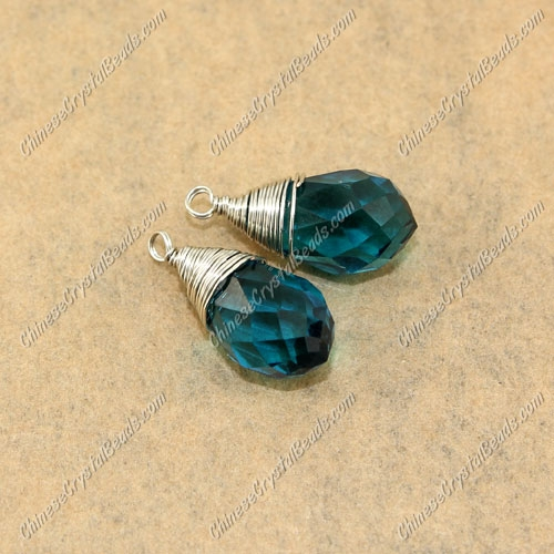 Wire Working Briolette Crystal Beads Pendant, 8x13mm, indicolite, 1 pcs