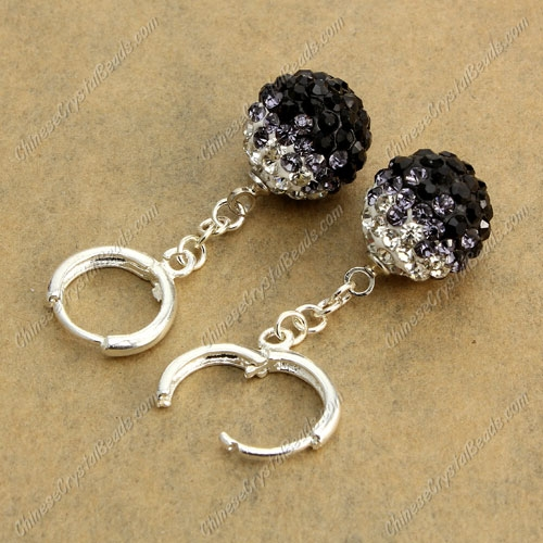 High quality Pave Drop Earrings, 12mm evil eye pave beads, black gradient, sold 1 pair