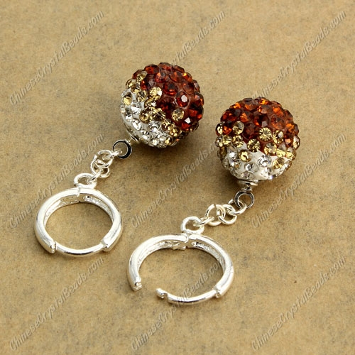 High quality Pave Drop Earrings, 12mm evil eye pave beads, coffee, sold 1 pair