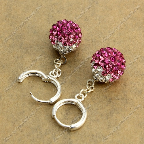 High quality Pave Drop Earrings, 12mm evil eye pave beads, fuchsia gradient, sold 1 pair