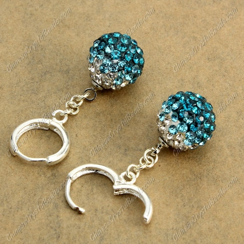 High quality Pave Drop Earrings, 12mm evil eye pave beads, indicolite gradient, sold 1 pair