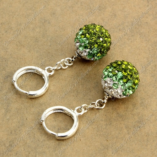 High quality pave Drop Earrings, 12mm evil eye pave beads, olivine 1 gradient, sold 1 pair