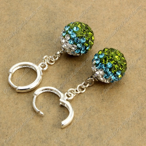 High quality Pave Drop Earrings, 12mm evil eye pave beads, olivine 2 gradient, sold 1 pair