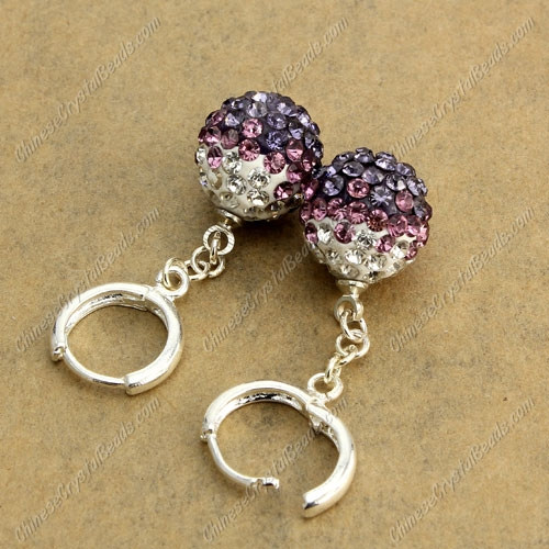 High quality Pave Drop Earrings, 12mm evil eye pave beads, purple gradient, sold 1 pair
