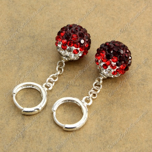 High quality Pave Drop Earrings, 12mm evil eye pave beads, red gradient, sold 1 pair