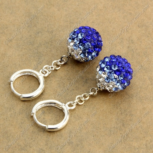 High quality Pave Drop Earrings, 12mm evil eye pave beads, sapphire gradient, sold 1 pair