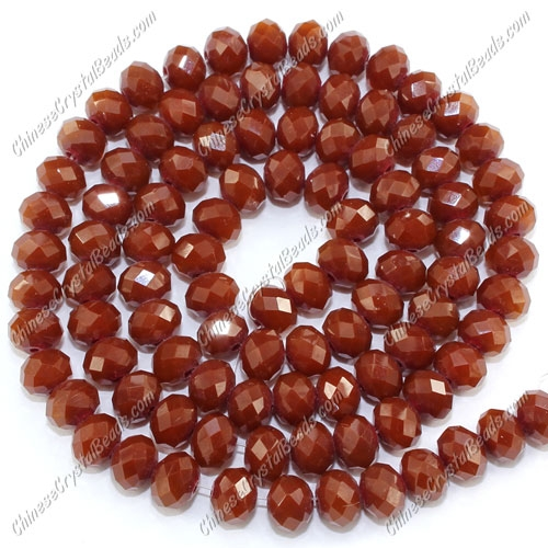Crystal Rondelle Bead Strand, Opaque brown, 4 x 6mm, about 100 beads