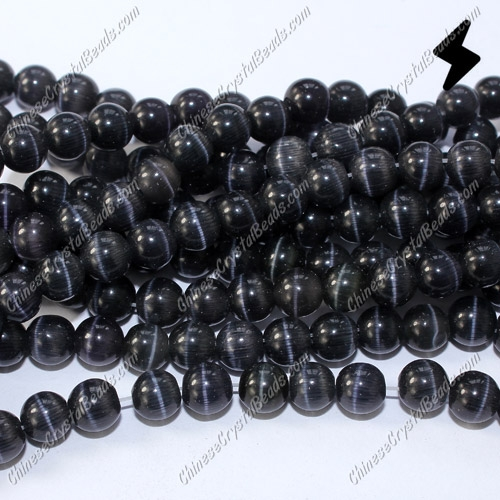 "glass cat eyes beads strand, black, about 15"" longer"