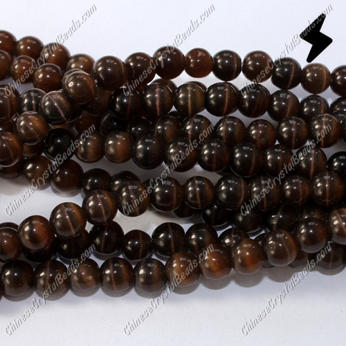 "glass cat eyes beads strand, brown, about 15"" longer"