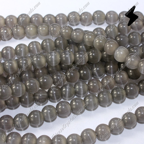 "glass cat eyes beads strand, gray, about 15"" longer"
