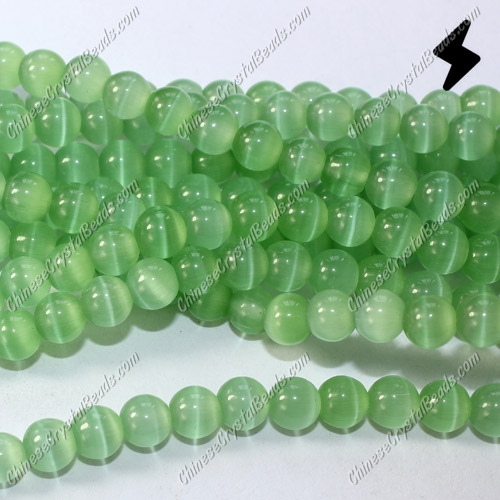 "glass cat eyes beads strand, lime green, about 15"" longer"