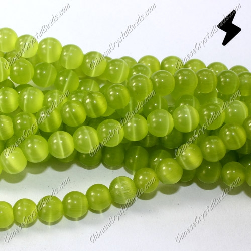 "glass cat eyes beads strand, lt-olive-green, about 15"" longer"