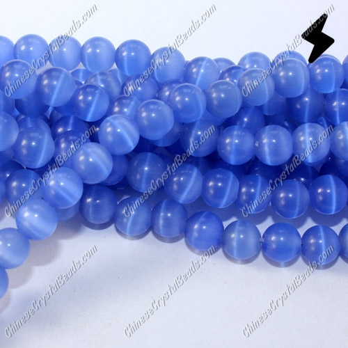 "glass cat eyes beads strand, lt-sapphire, about 15"" longer"