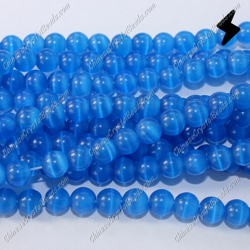 "glass cat eyes beads strand, med-sapphire, about 15"" longer"