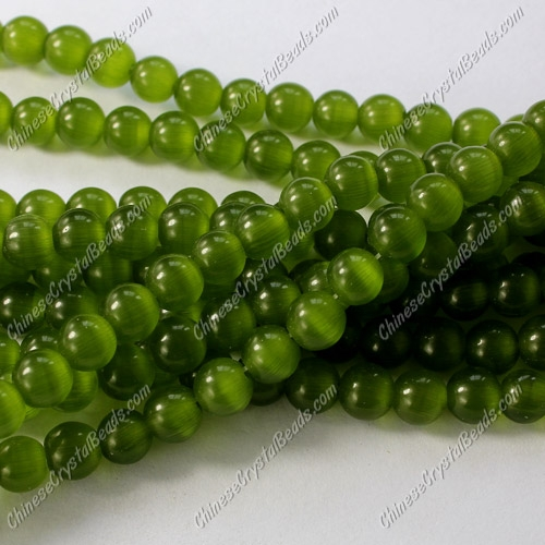 glass cat eyes beads strand, olive-green, about 15