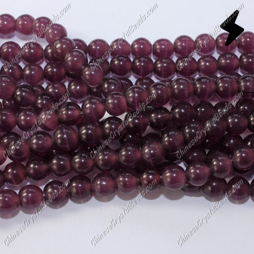 "glass cat eyes beads strand, purple, about 15"" longer"
