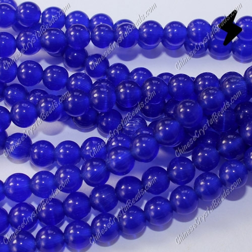 "glass cat eyes beads strand, sapphire, about 15"" longer"