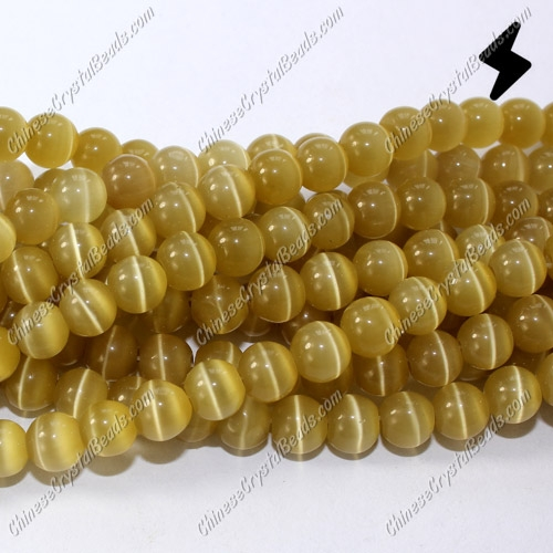 "glass cat eyes beads strand, topaz, about 15"" longer"