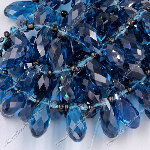 10x20mm, Briolette beads, capri blue, 10 beads