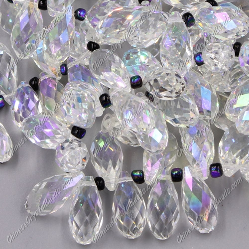 10x20mm, Briolette beads, clear AB, 10 beads