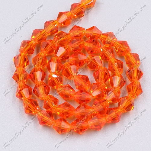 Chinese Crystal Bicone bead strand, 6mm, tangerine, about 50 beads
