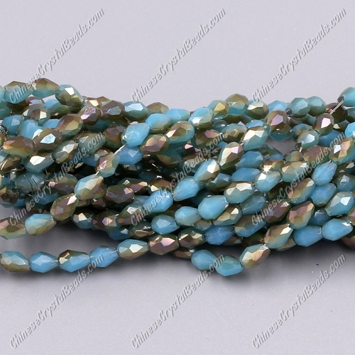 Chinese Crystal Teardrop Beads Strand, #006, 3x5mm, about 100 Beads
