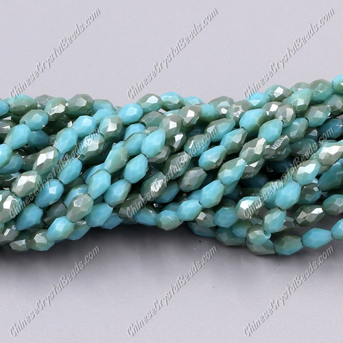 Chinese Crystal Teardrop Beads Strand, #007, 3x5mm, about 100 Beads