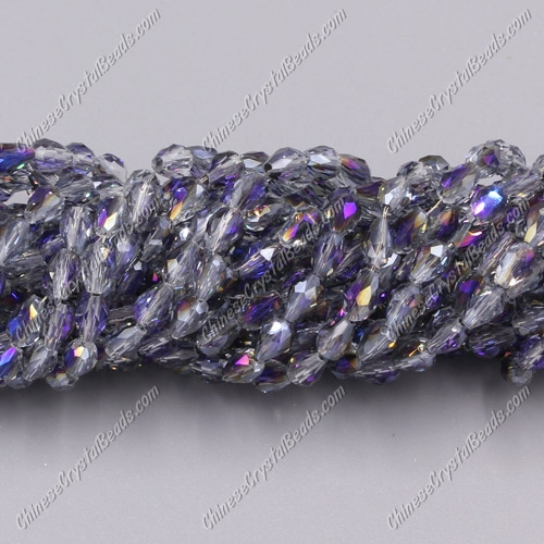 Chinese Crystal Teardrop Beads Strand, purple light, 3x5mm, about 100 Beads