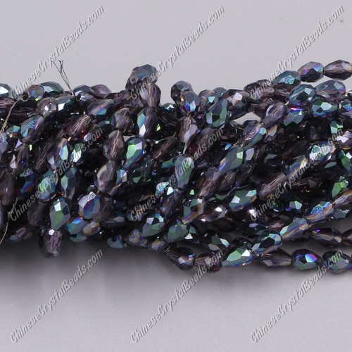 Chinese Crystal Teardrop Beads Strand, violet and green light, 3x5mm, about 100 Beads