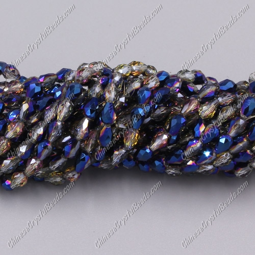Chinese Crystal Teardrop Beads Strand, blue light and purple, 3x5mm, about 100 Beads