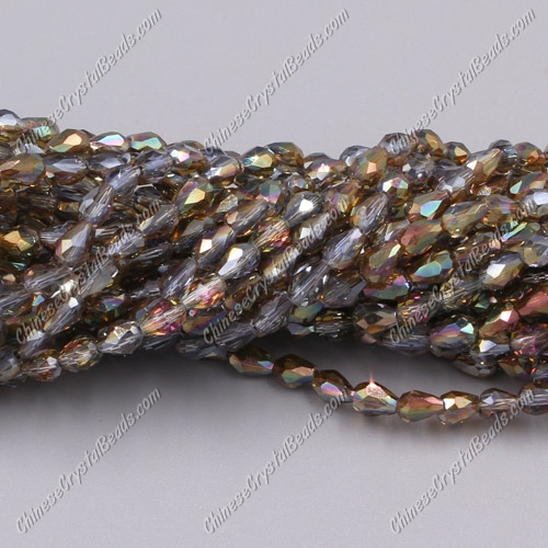 Chinese Crystal Teardrop Beads Strand, #28, 3x5mm, about 100 Beads