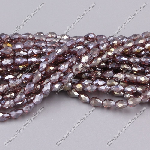 Chinese Crystal Teardrop Beads Strand, amethyst AB, 3x5mm, about 100 Beads