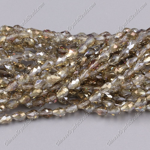 Chinese Crystal Teardrop Beads Strand, #28, 3xmm, about 100 Beads