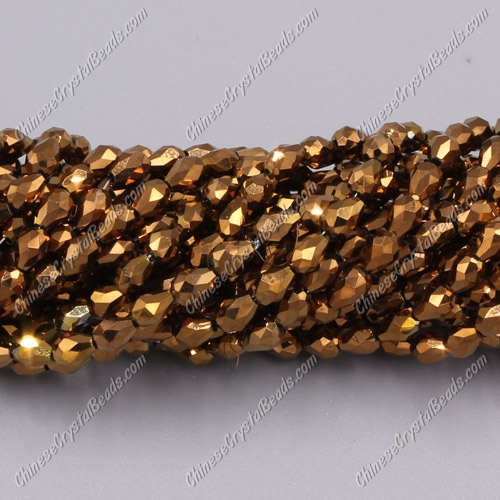 Chinese Crystal Teardrop Beads Strand, copper, 3x5mm, about 100 Beads