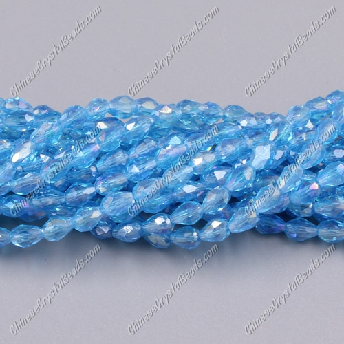 Chinese Crystal Teardrop Beads Strand, aqua AB, 3x5mm, about 100 Beads
