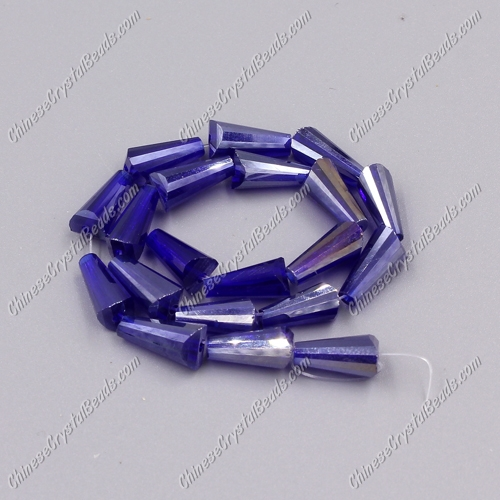 Chinese Artemis Crystal beads, 6x12mm, sapphire AB, per pkg of 20pcs