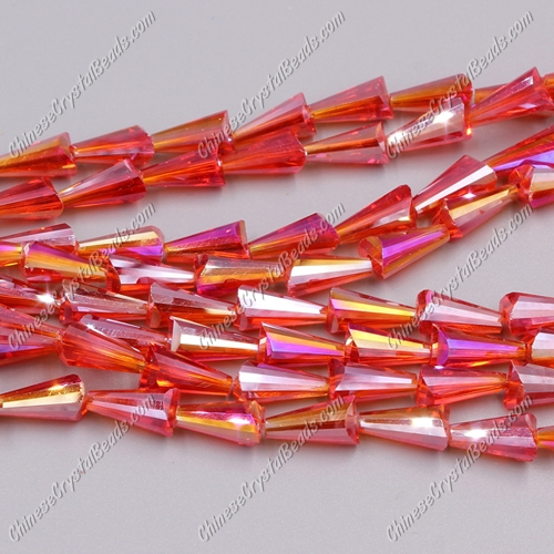 Chinese Artemis Crystal beads, 6x12mm, light siam AB, per pkg of 20pcs