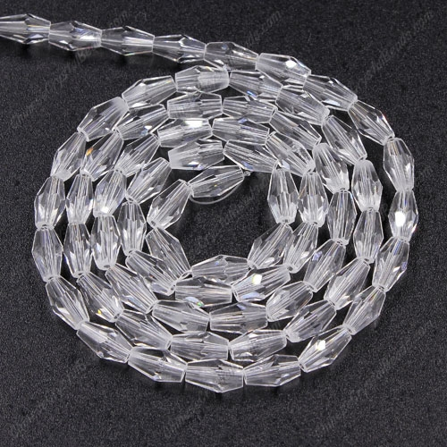 4x8mm crystal bicone beads, clear, about 72 beads per strand