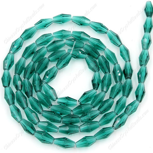 4x8mm crystal bicone beads, emerald, about 72 beads per strand