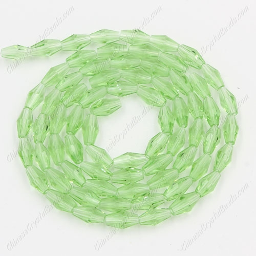 4x8mm crystal bicone beads, lime green, about 72 beads per strand