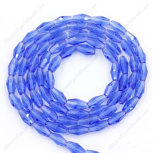 4x8mm crystal bicone beads, med sapphire, about 72 beads per strand