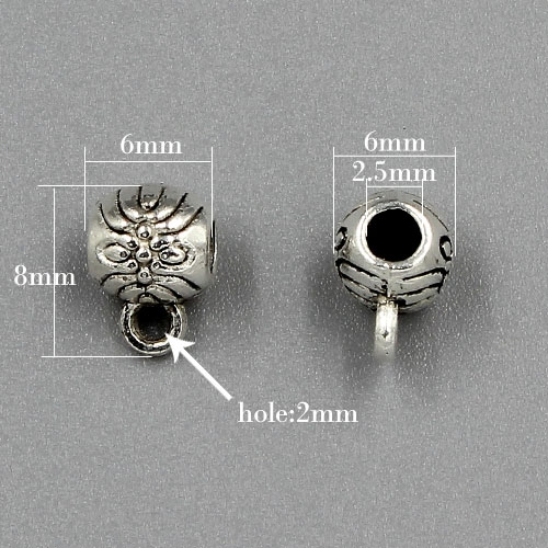 "Bail Connectors, antiqued silver-finished ""pewter"" (zinc-based alloy), 6x8mm . Sold per pkg of 50pcs"