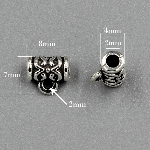 "Bail Connectors, antiqued silver-finished ""pewter"" (zinc-based alloy), 7x8mm . Sold per pkg of 50pcs"