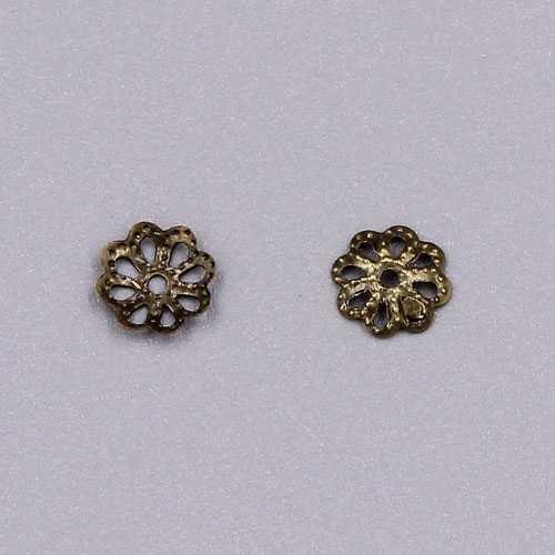 Bead cap, Antique Bronze plated iron, 7x1mm textured flower with cutouts, fits 8-12mm bead. Sold per pkg of 200.