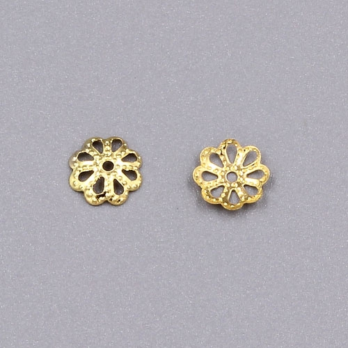 Bead cap, gold plated iron, 7x1mm textured flower with cutouts, fits 8-12mm bead. Sold per pkg of 200.