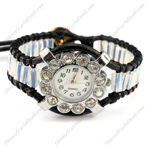 Beaded Wrap watch Bracelet, cuboid crystal beads, 7 to 8""