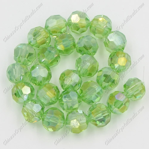 Crystal Round beads strand, 8mm, Lime green AB, 25 beads