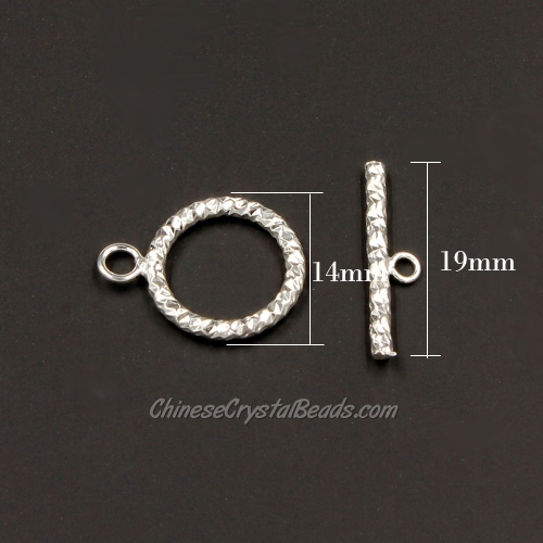 Clasp, toggle, silver-plated brass, 14mm twisted flat round. Sold per pkg of 10.