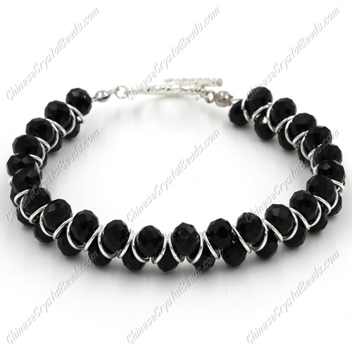 Crystal Bracelet 6mm rondelle beads black, length